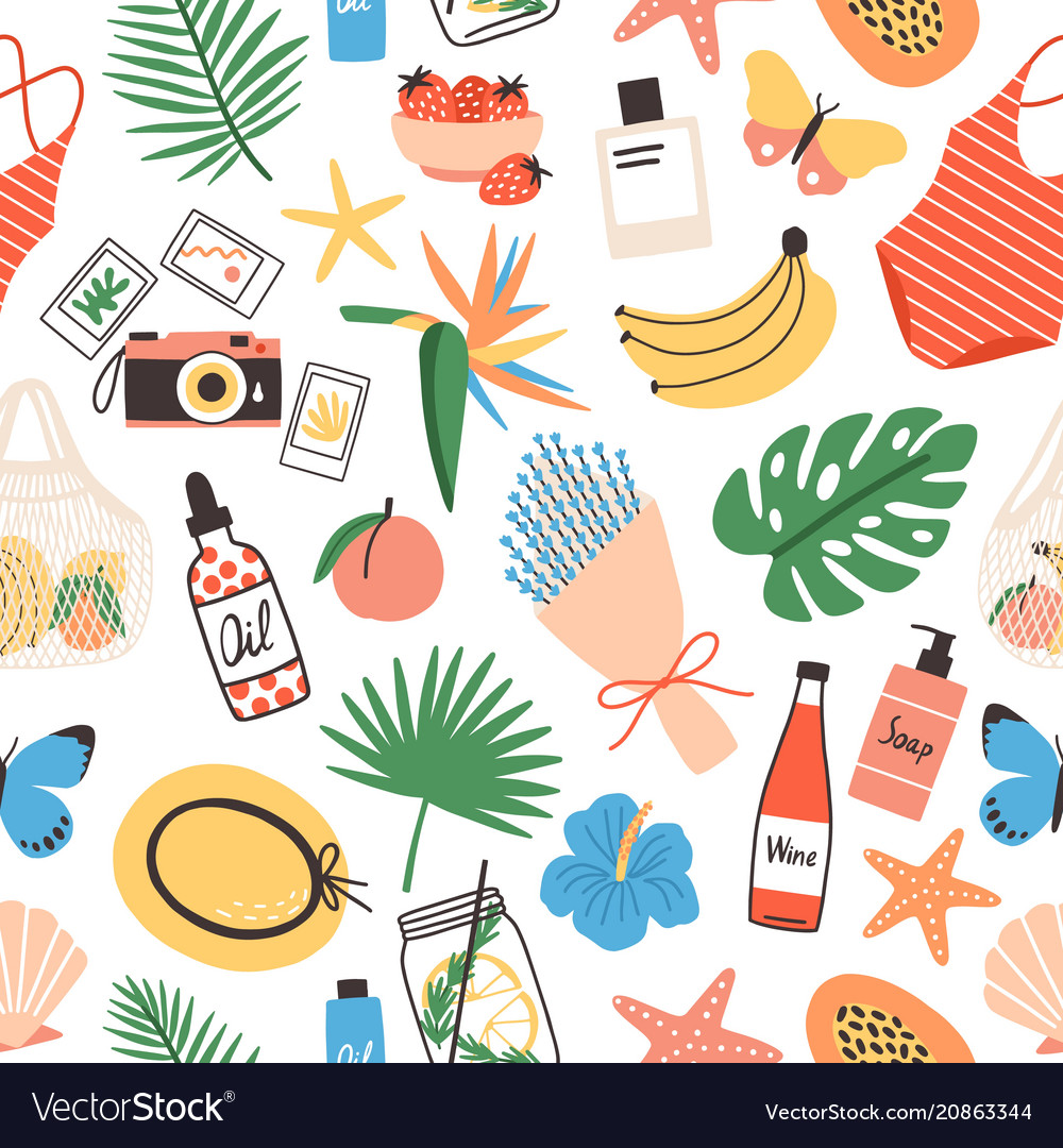 Seamless pattern with summer attributes on white