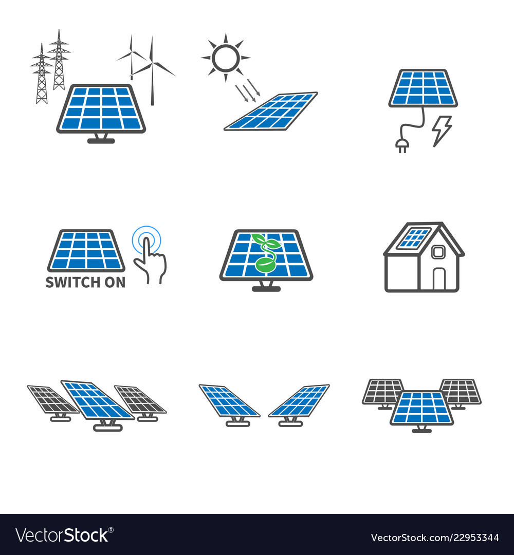 Solar cell icons power and energy concept