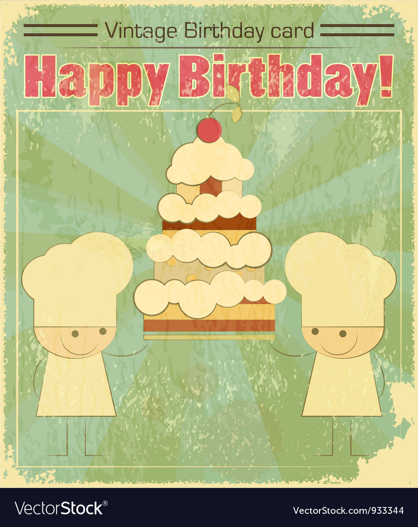 Vintage Birthday Card Design With Chefs Vector Image