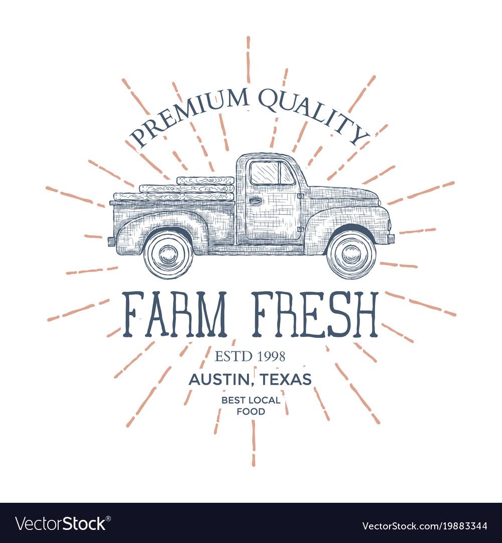 Vintage farm food logo engraved logo