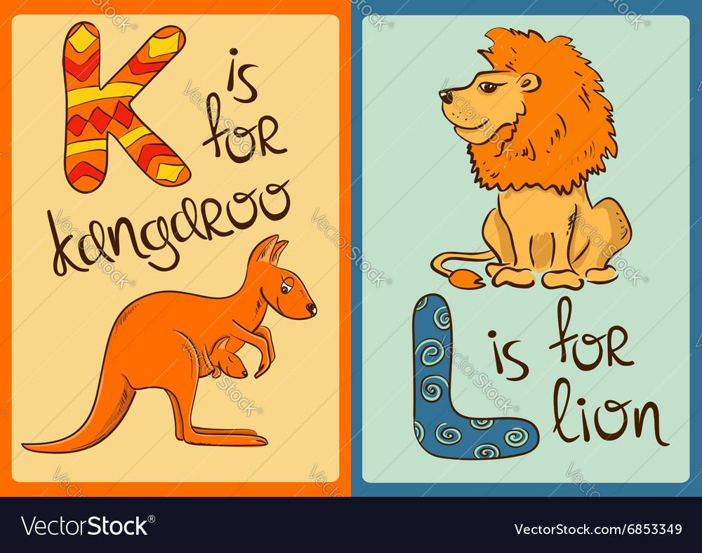 Children Alphabet with Funny Animals Kangaroo and