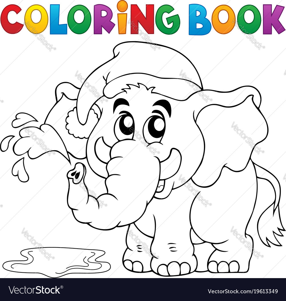 Coloring book elephant with hat Royalty Free Vector Image