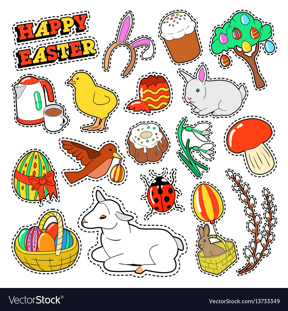 Easter decorative elements with rabbit eggs