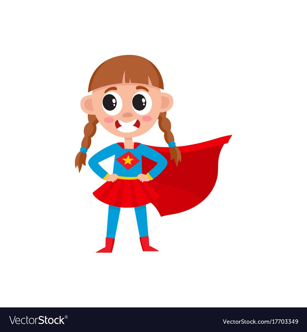 Flat girl kid in fancy super woman costume Vector Image
