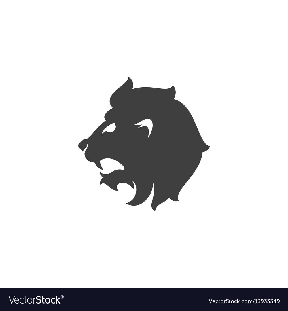 Heraldic lion head isolated on white background