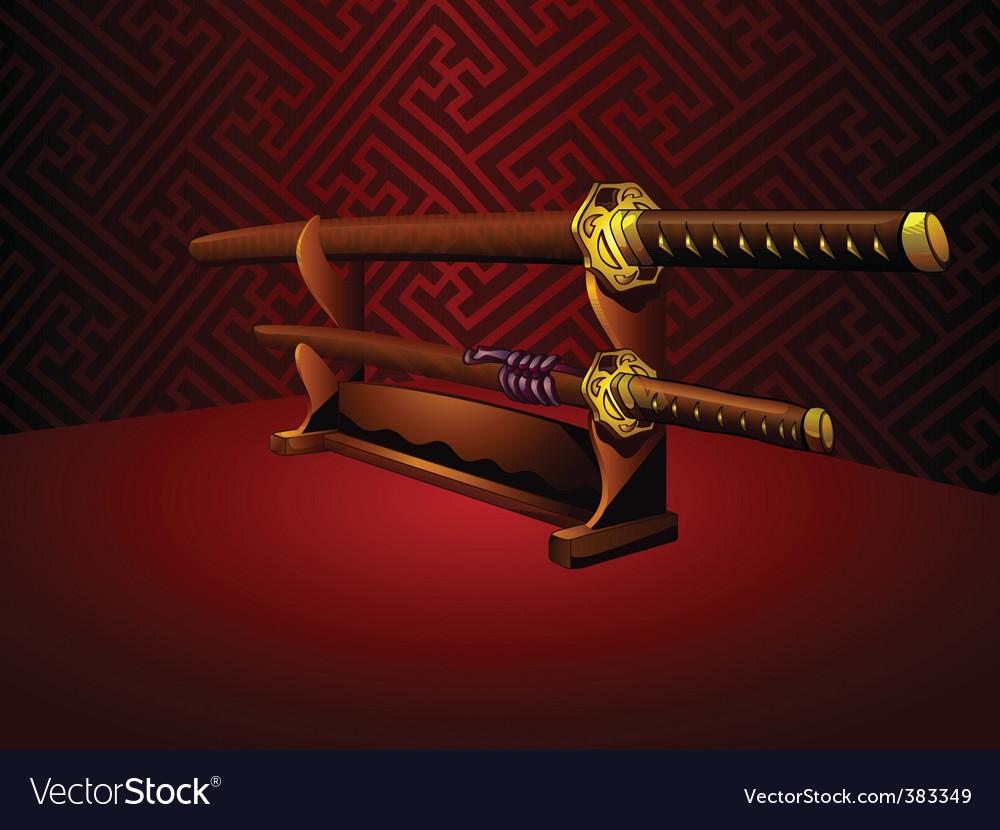 Katana swords vector image