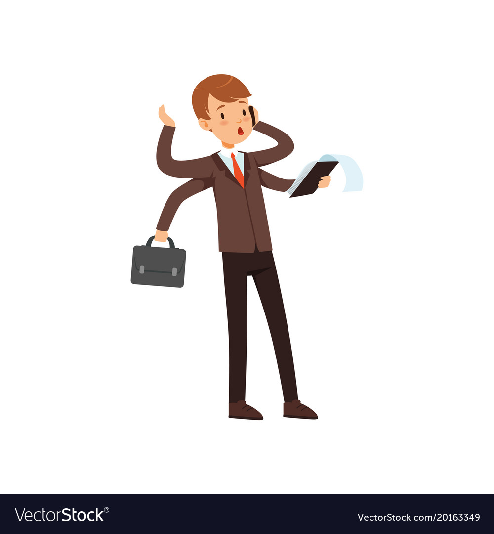 Multitasking young businessman boy in a business