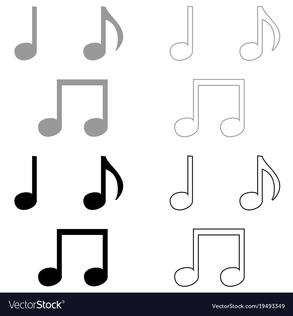 Music note set icon grey and black color