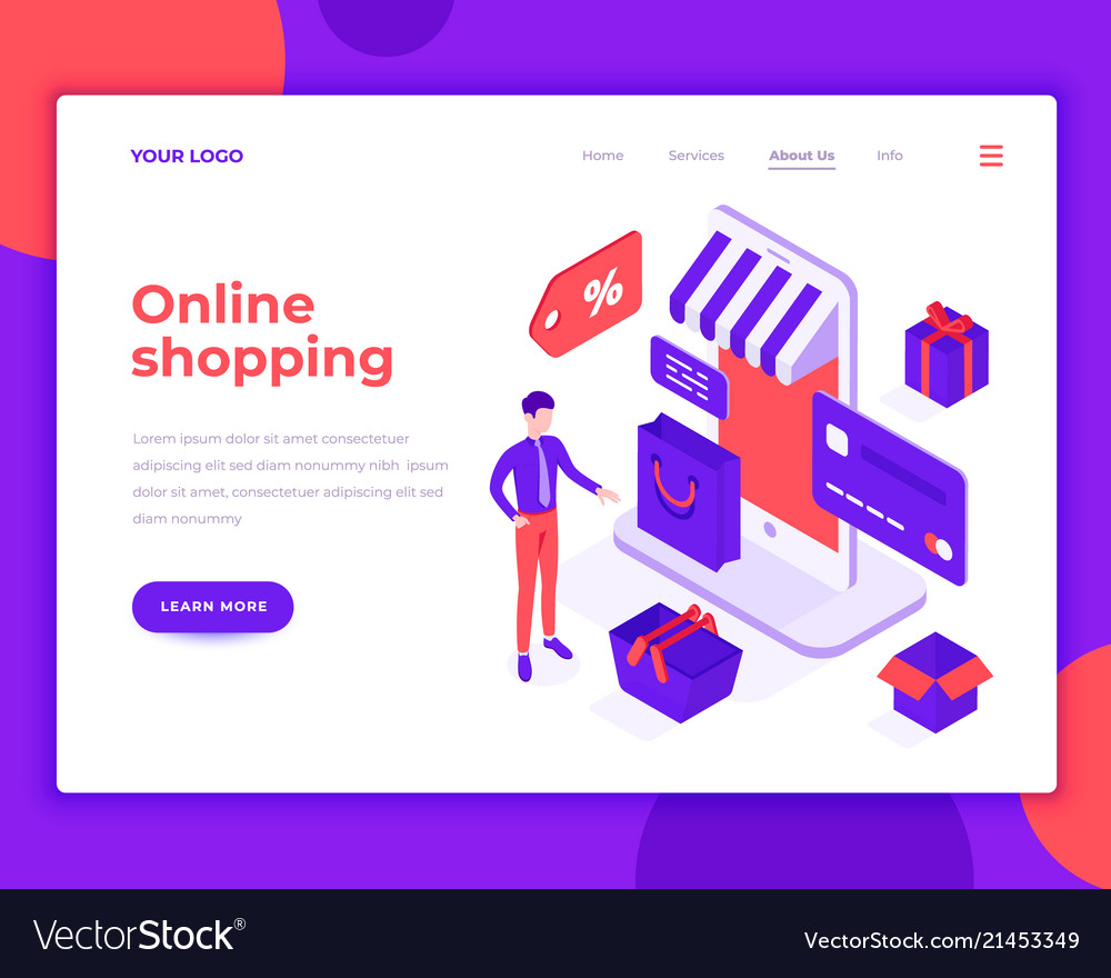 Online shopping people and interact with shop