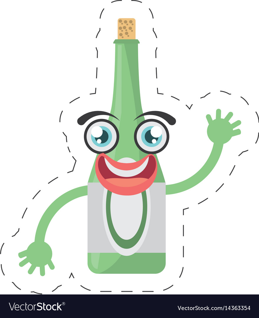 Cartoon bottle drink party cut line vector image