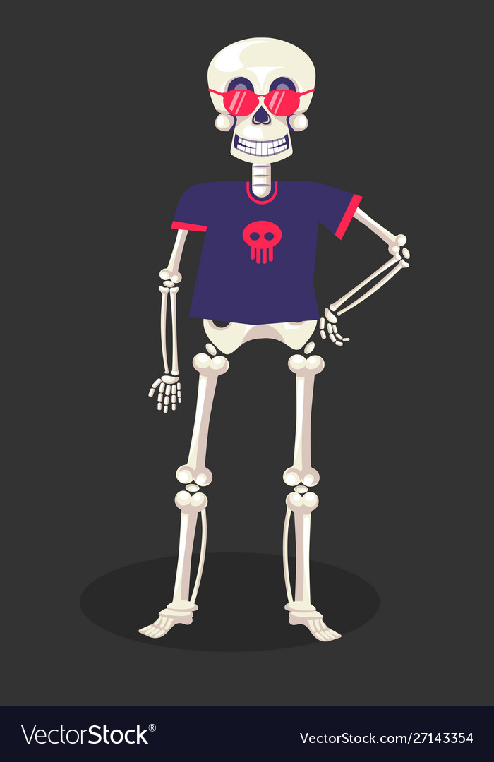 Day dead skeleton in t-shirt and glasses