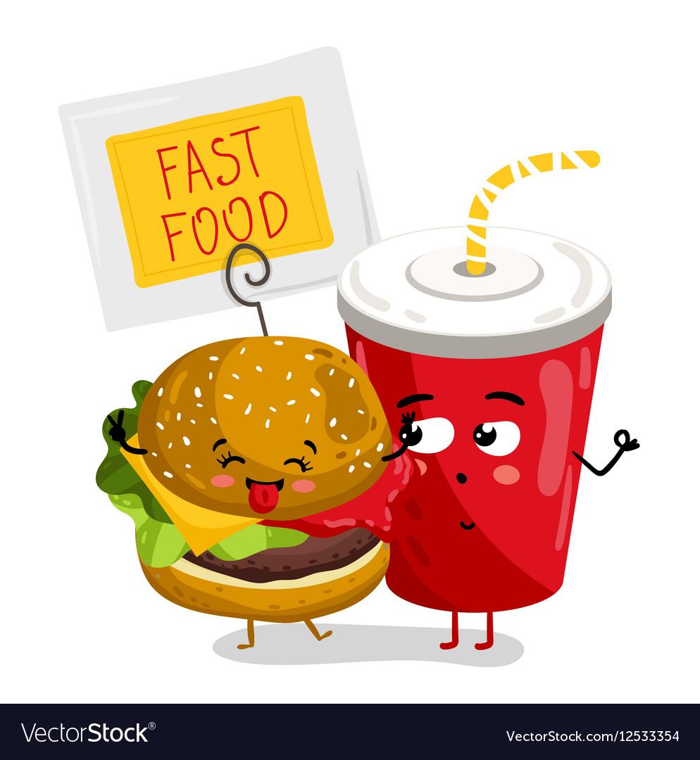 Funny take away glass and burger cartoon character