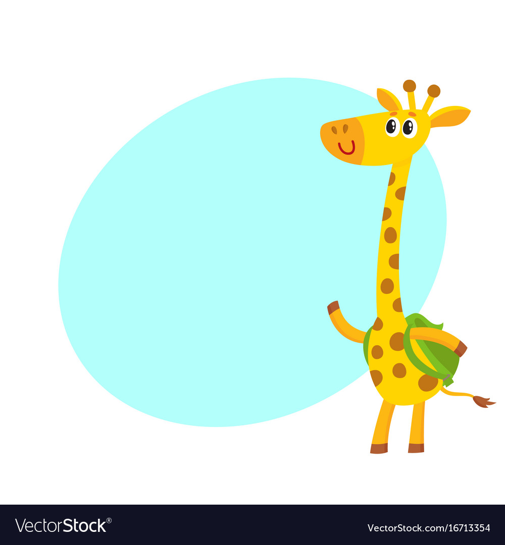 Giraffe animal student character with backpack