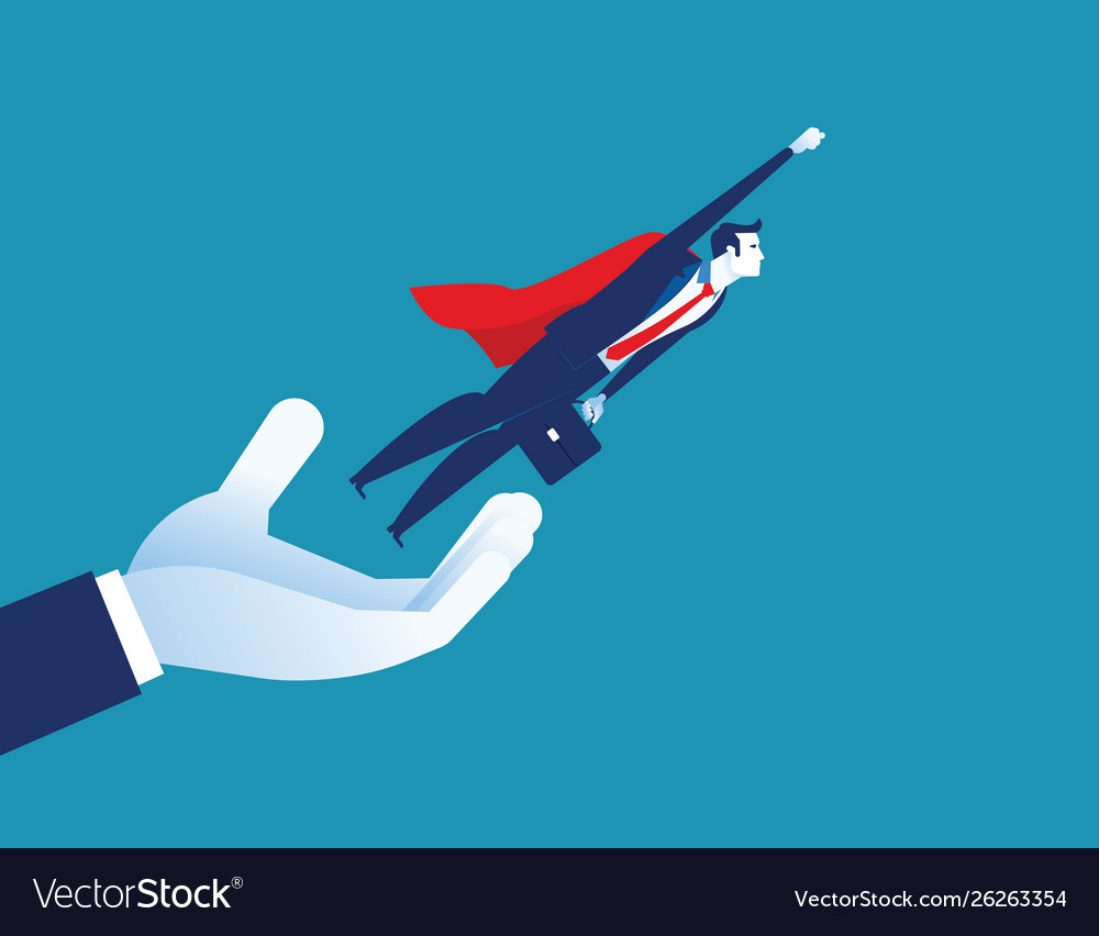 Give freedom businessman flying out hand