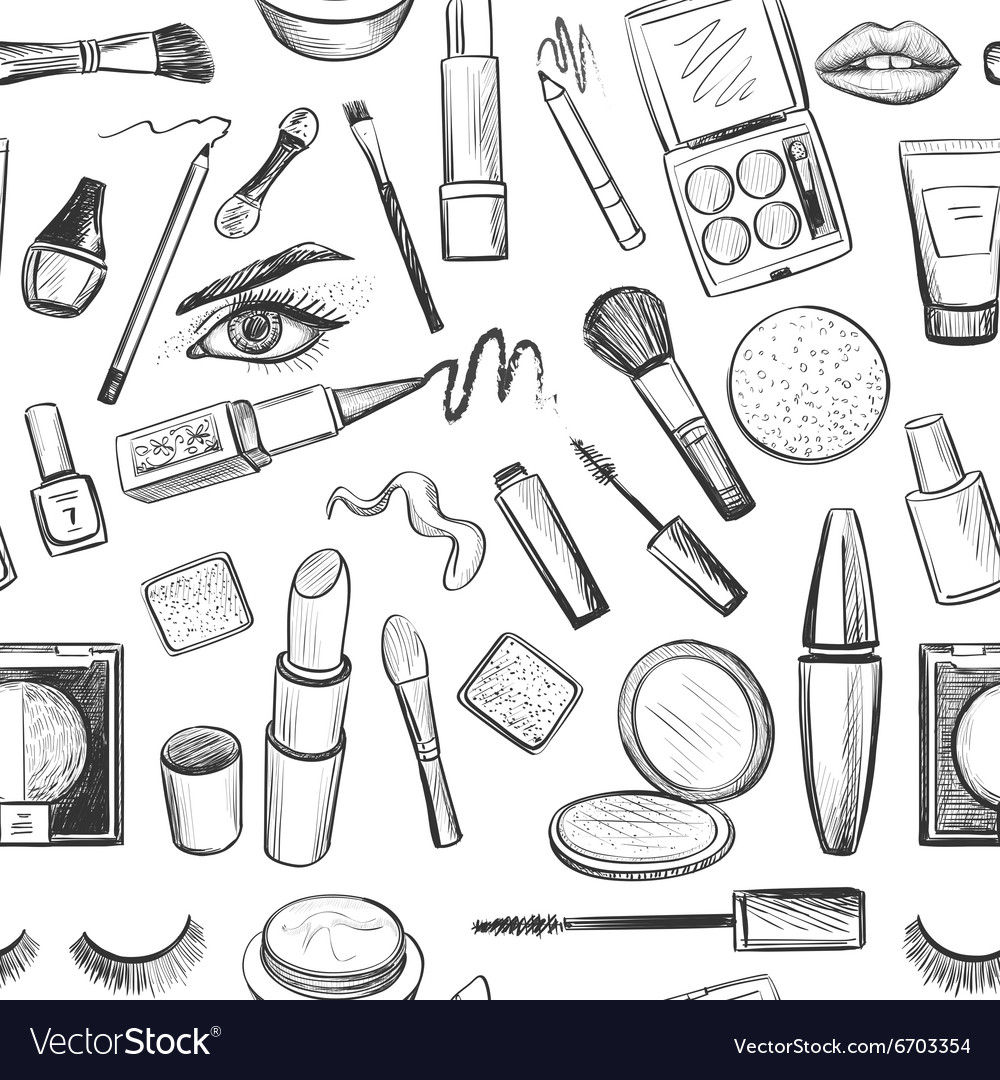 Glamorous make-up seamless pattern
