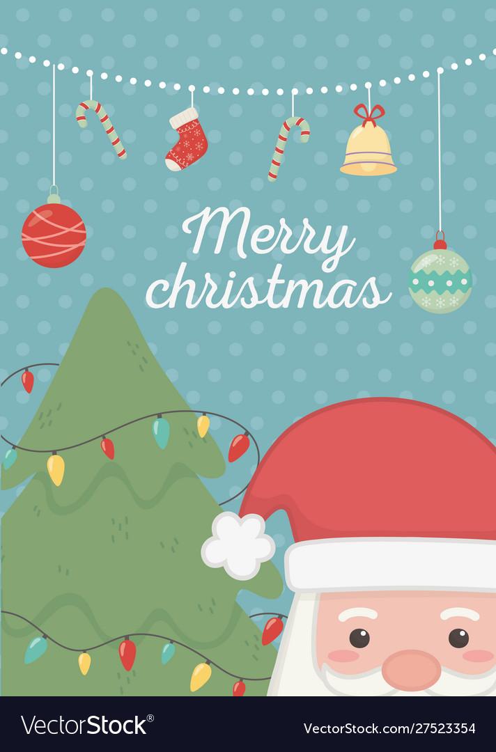 Hanging balls tree lights and santa merry