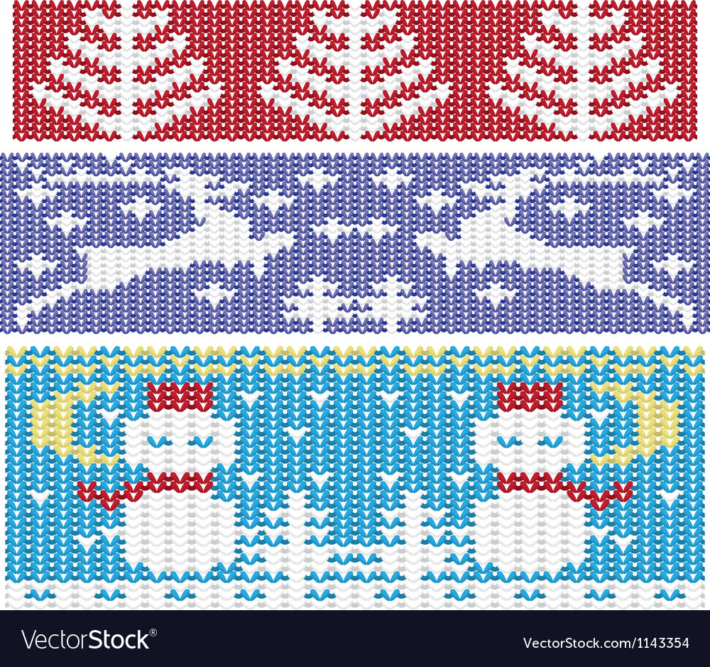 Knitted christmas ornaments Royalty Free Vector Image