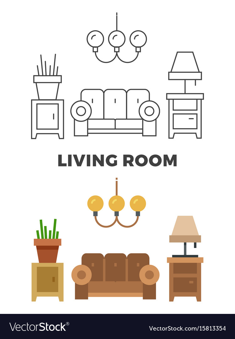 Living room concept - flat and line style living
