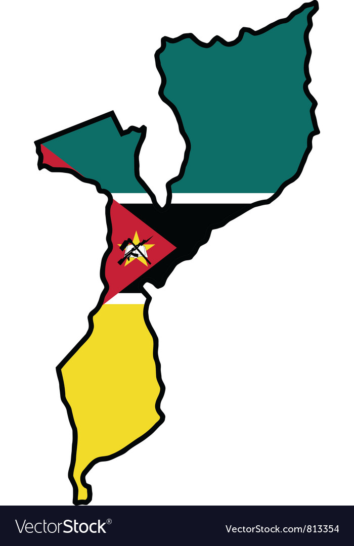 Map in colors of Mozambique vector image