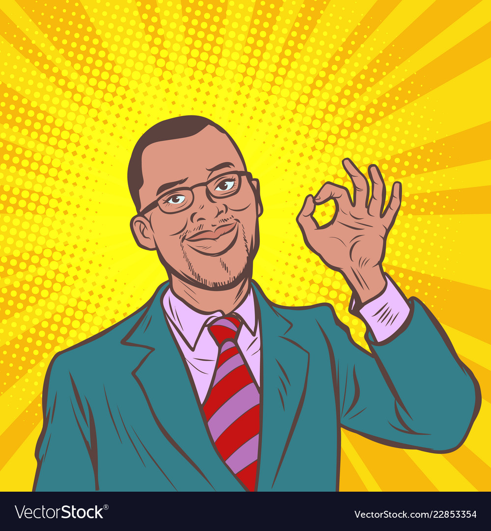 Okay gesture ok pop art african businessman