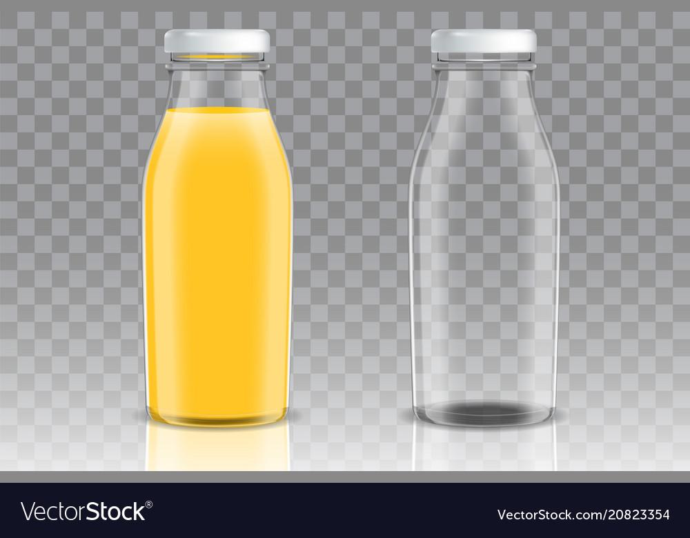 Orange juice glass bottle mockup set