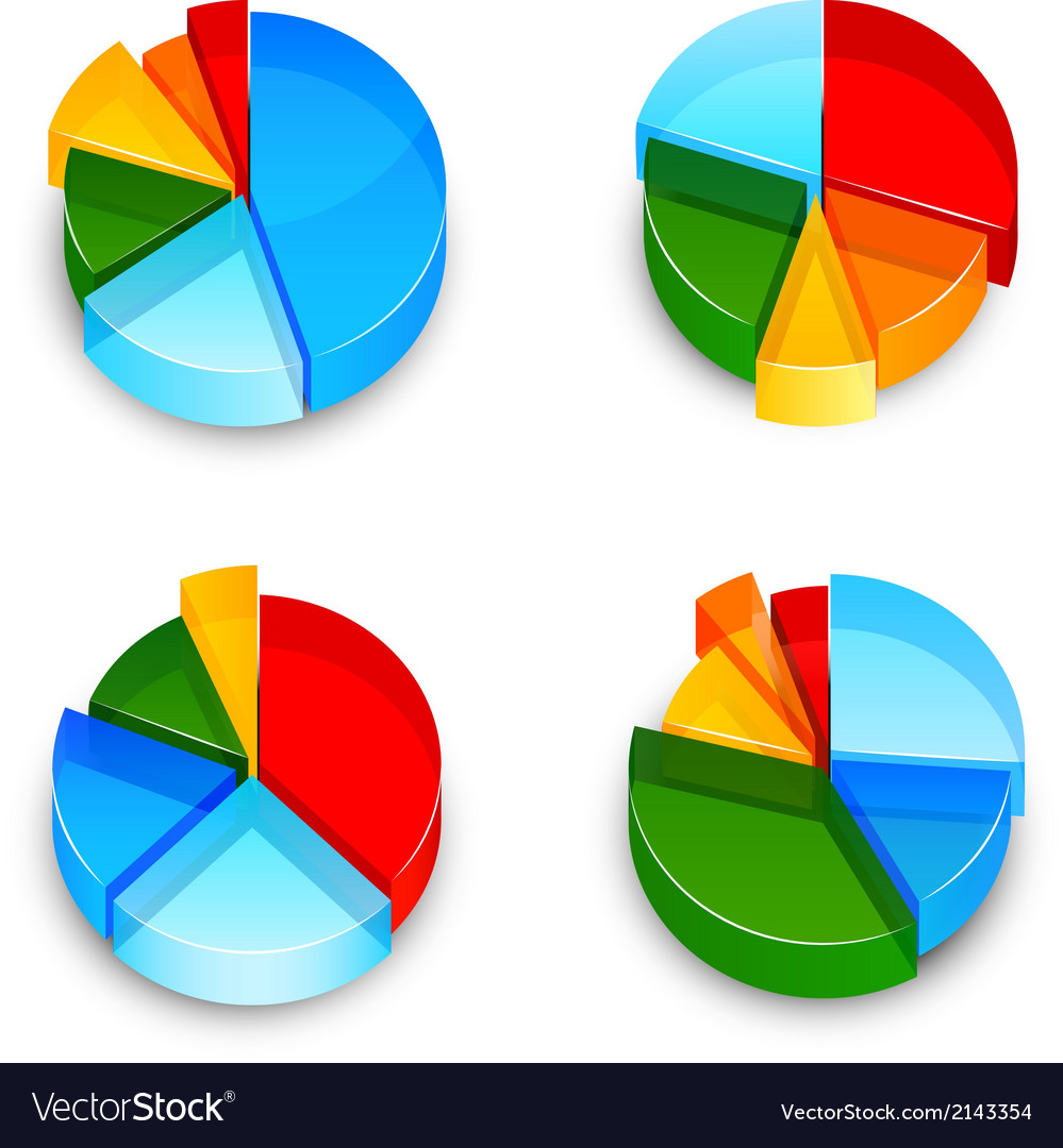 Pie Chart 3d Icons Set Royalty Free Vector Image