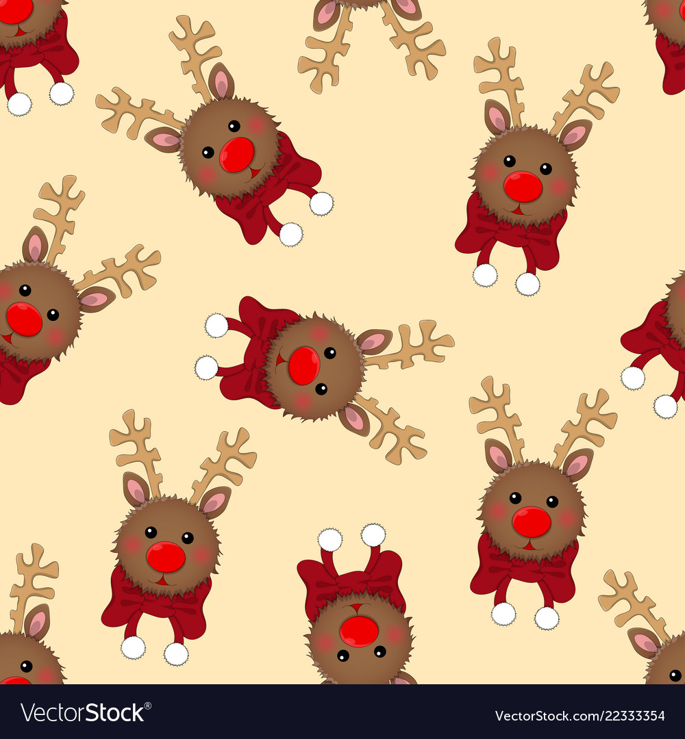 Reindeer with red scarf on ivory beige background