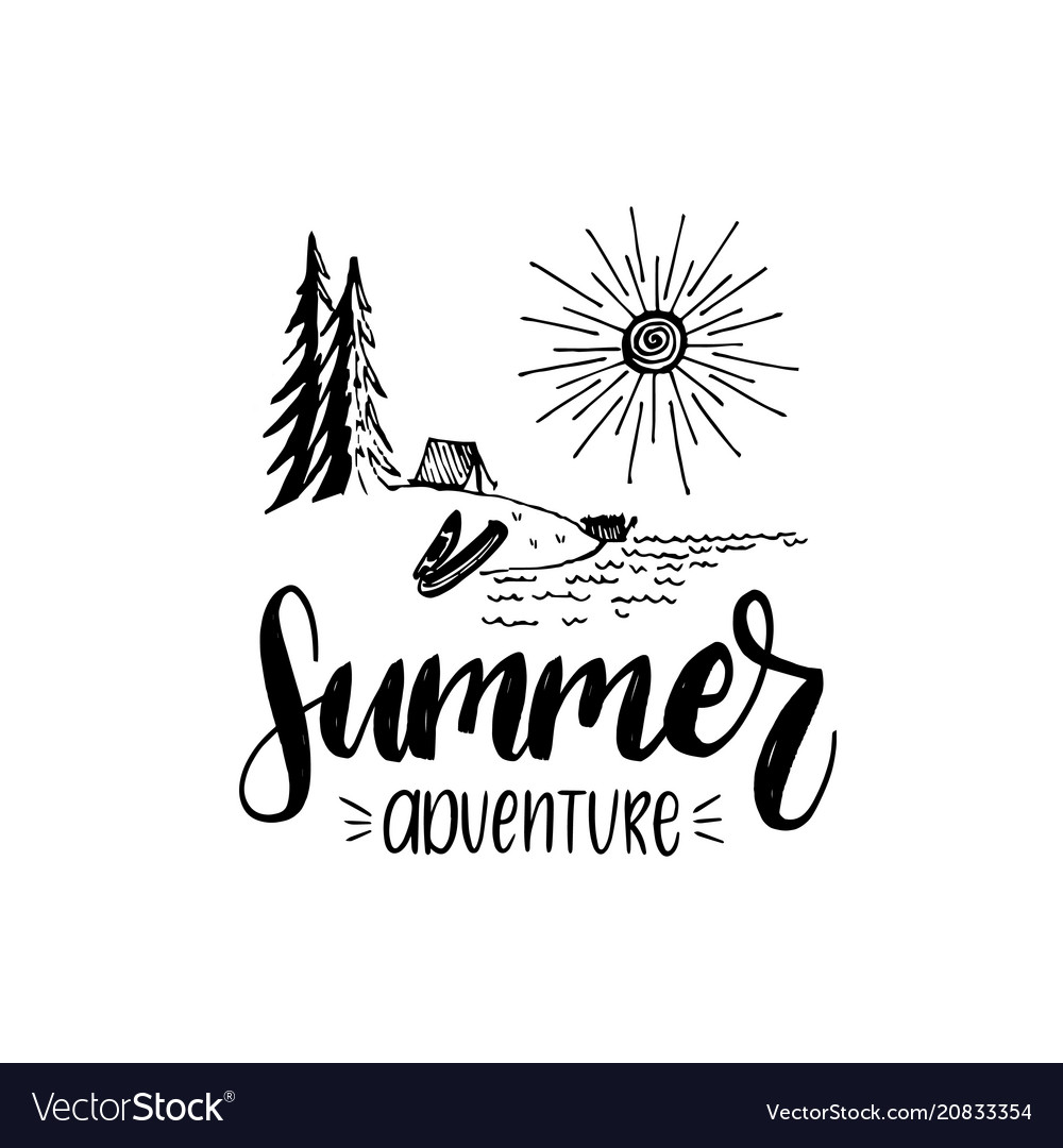 Summer adventure poster with lettering