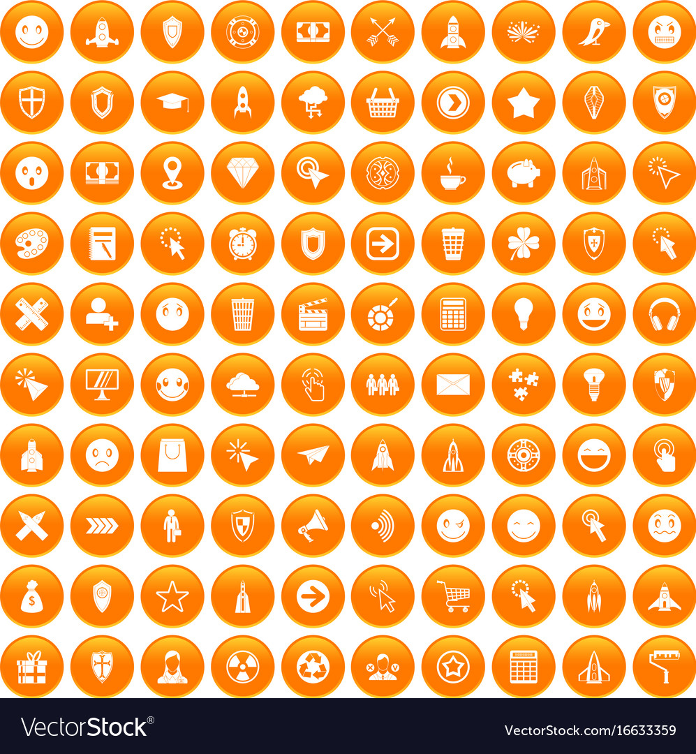 100 interface pictogram icons set orange