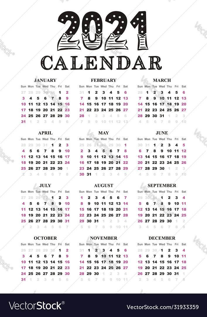 2021 yearly calendar template a4 Royalty Free Vector Image