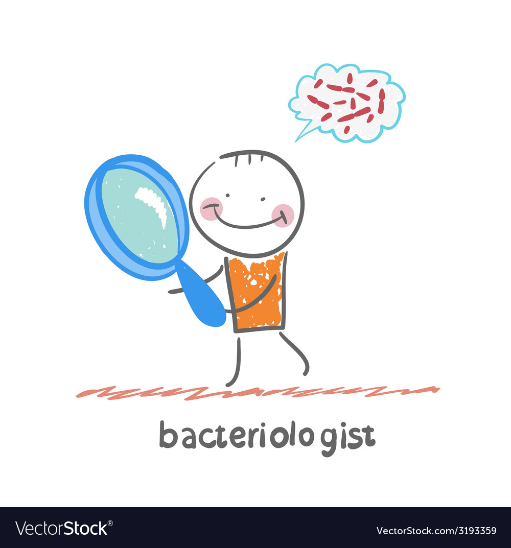 Bacteriologist looks through a magnifying glass on