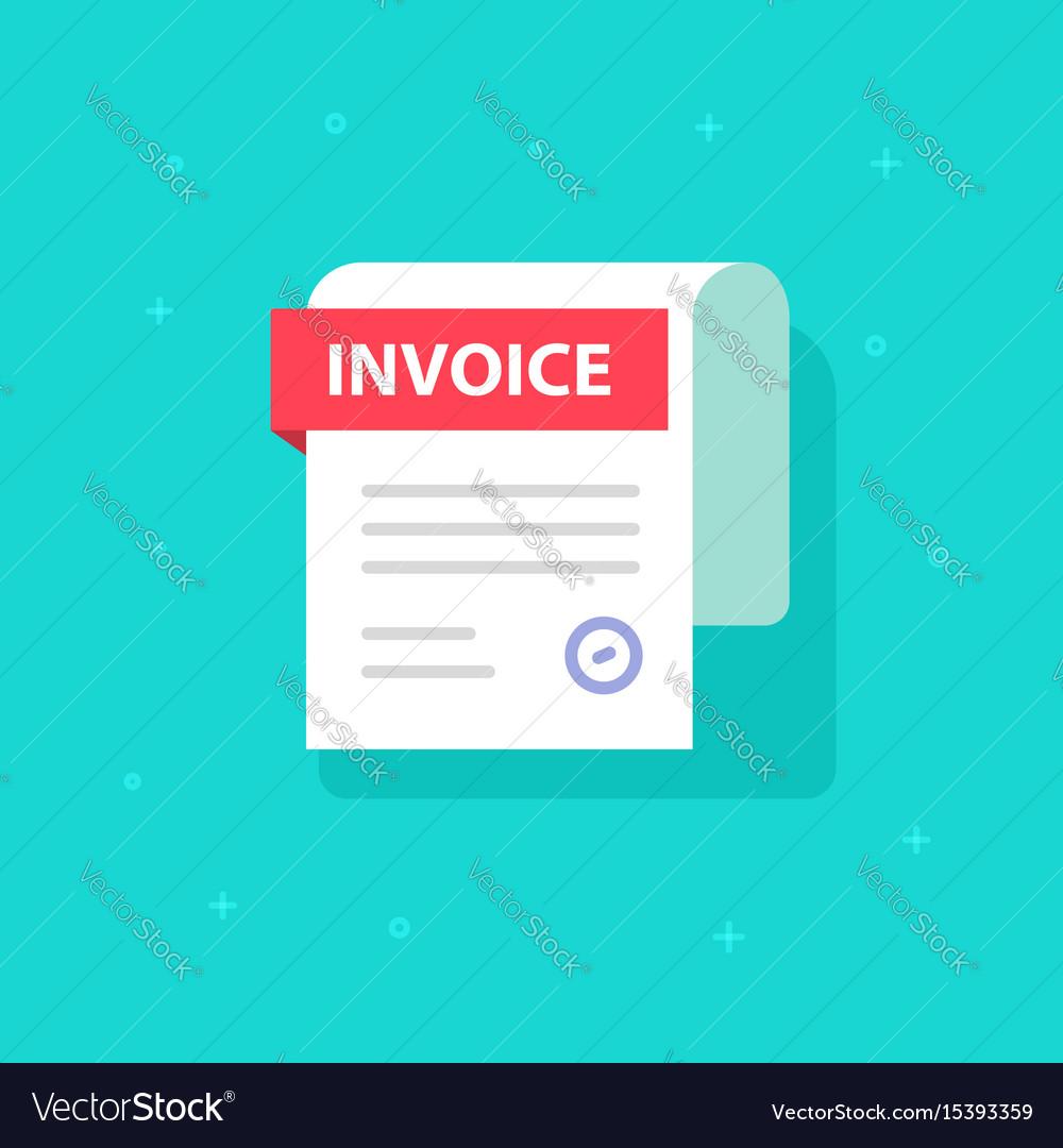 bill icon flat cartoon invoice paper royalty free vector