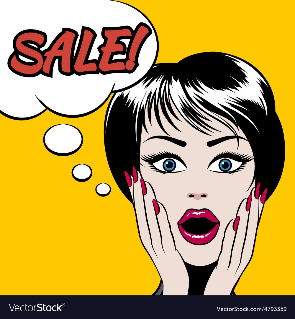 Comics style woman with SALE bubble