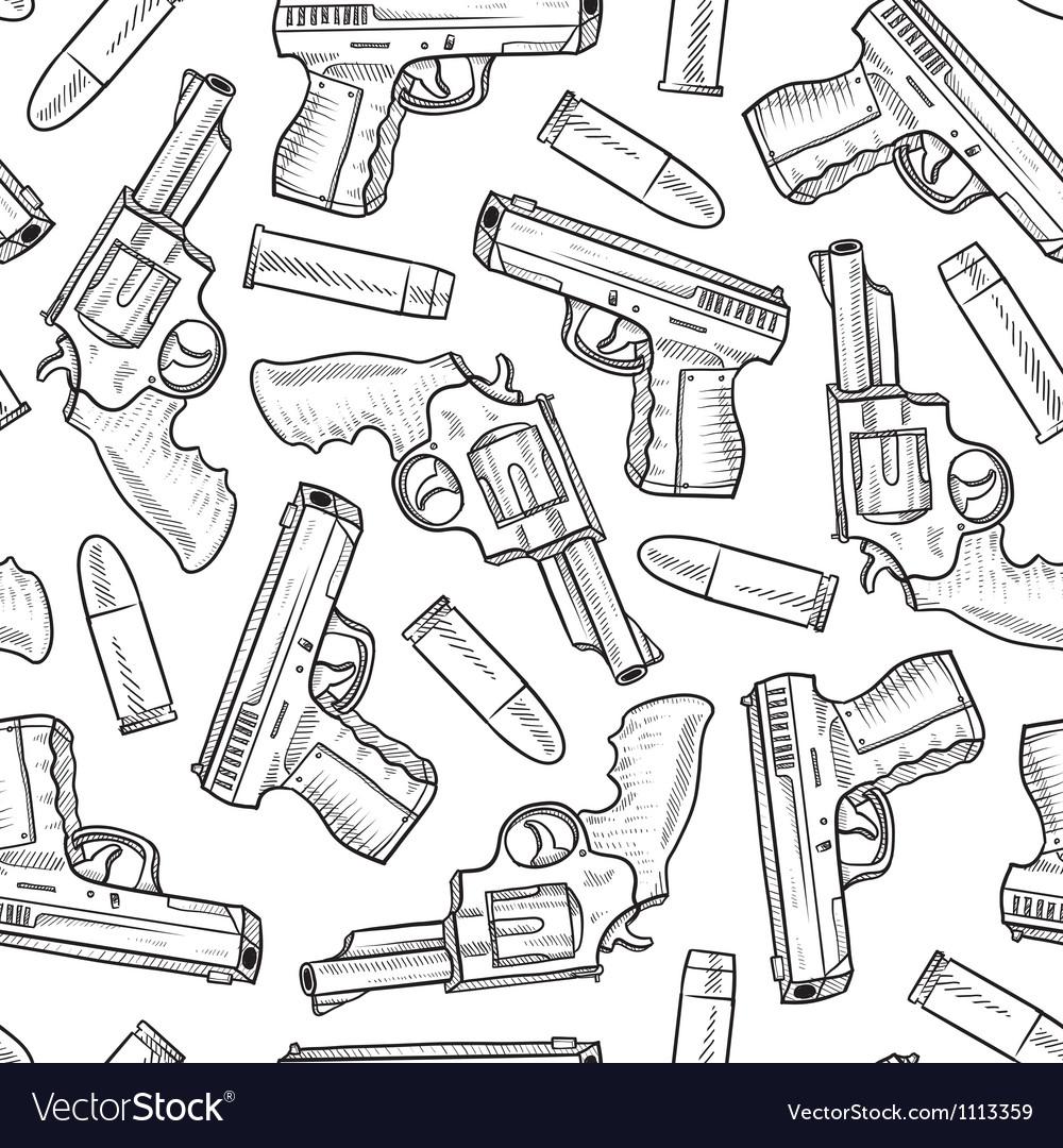 Doodle guns pattern seamless