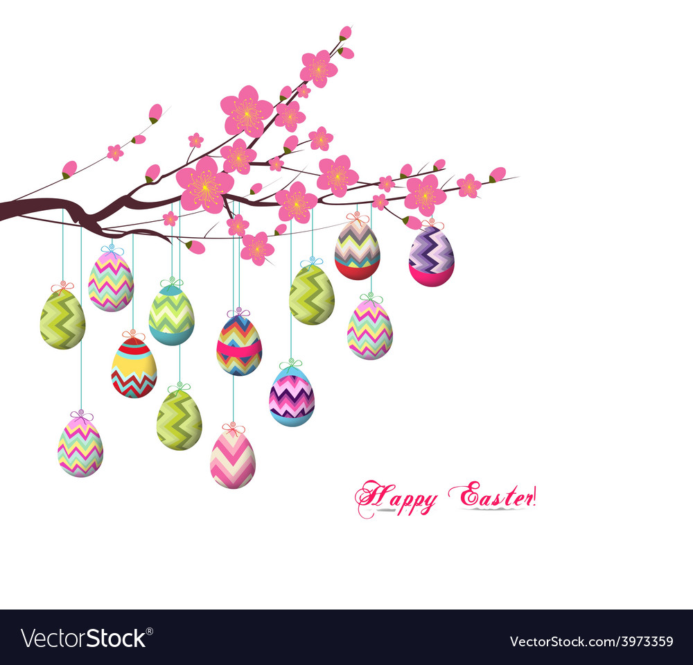 Easter Eggs Hanging Wire On Tree Royalty Free Vector Image