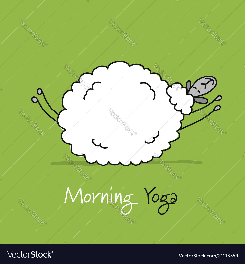 Funny sheep doing yoga sketch for your design