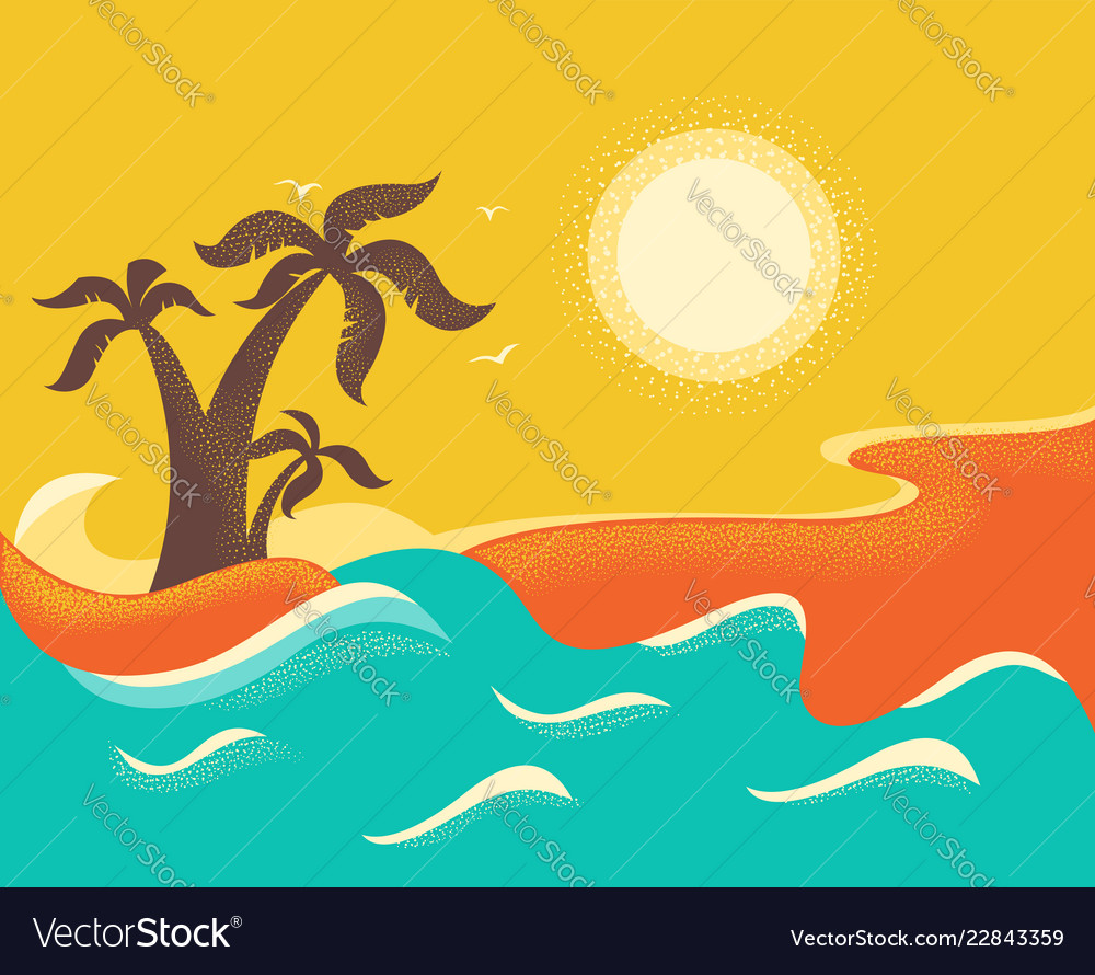 Ocean waves and tropical island with palms