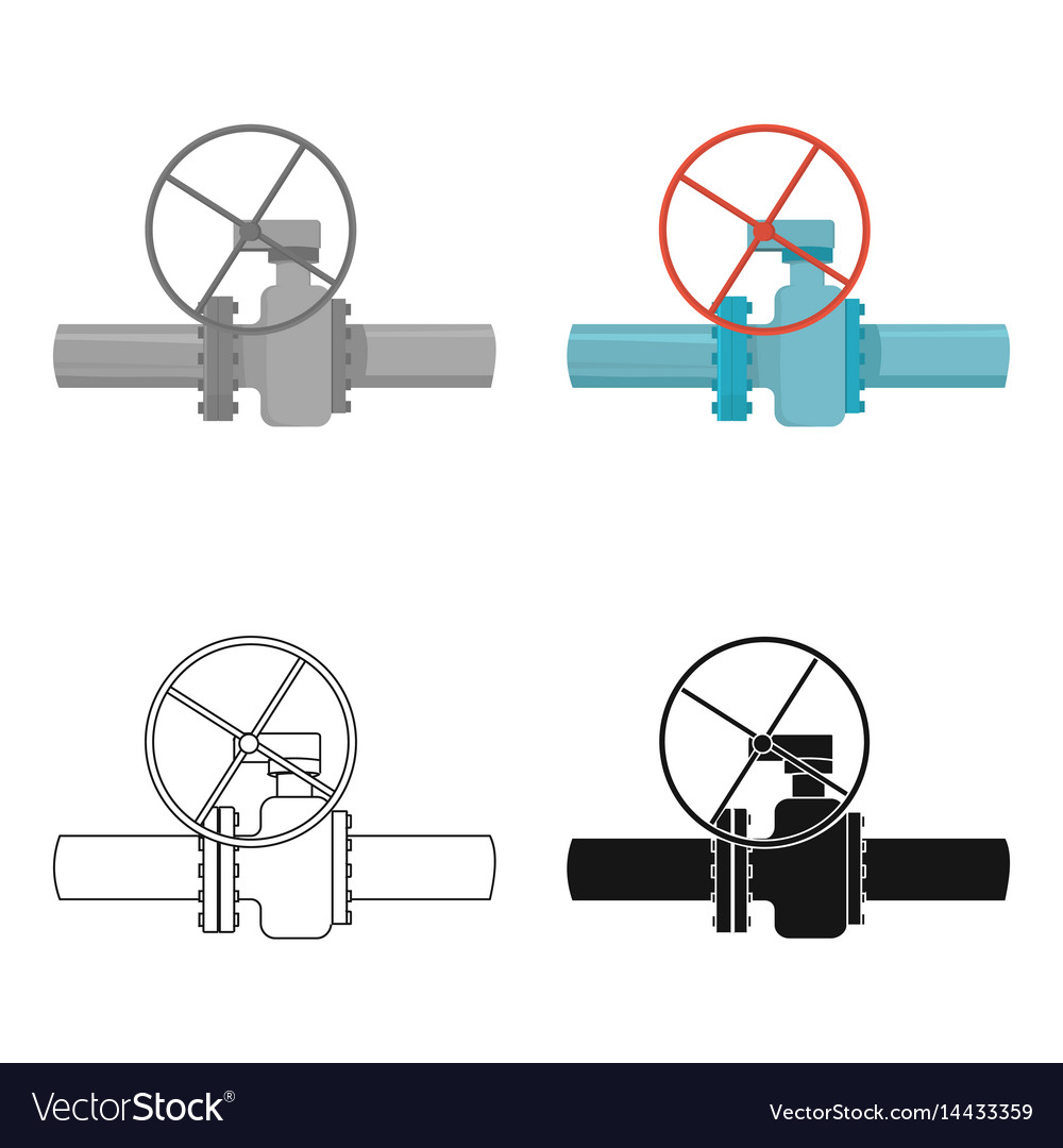 Oil pipe with valve icon in cartoon style isolated