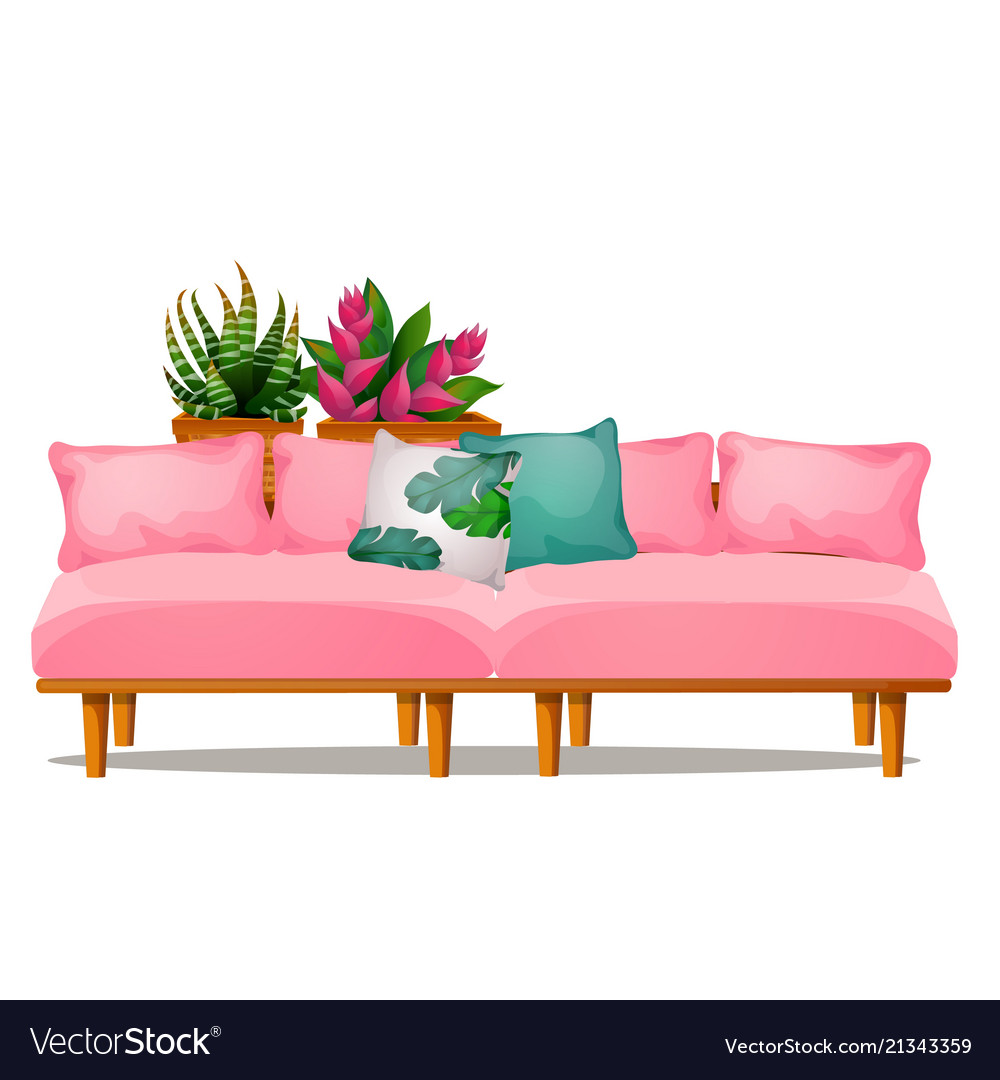 Pink color sofa with pillows and potted flowers