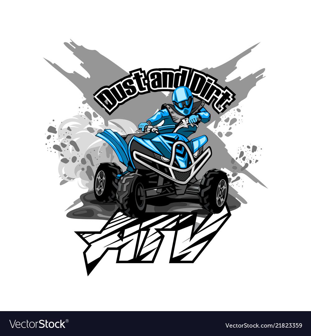 Quad Bike Off Road Atv Logo Dust And Dirt Vector Image