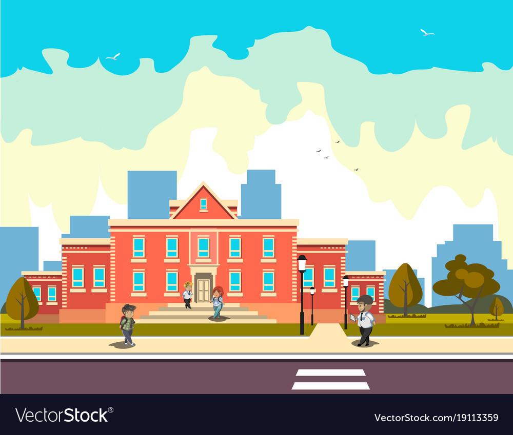 School building and children