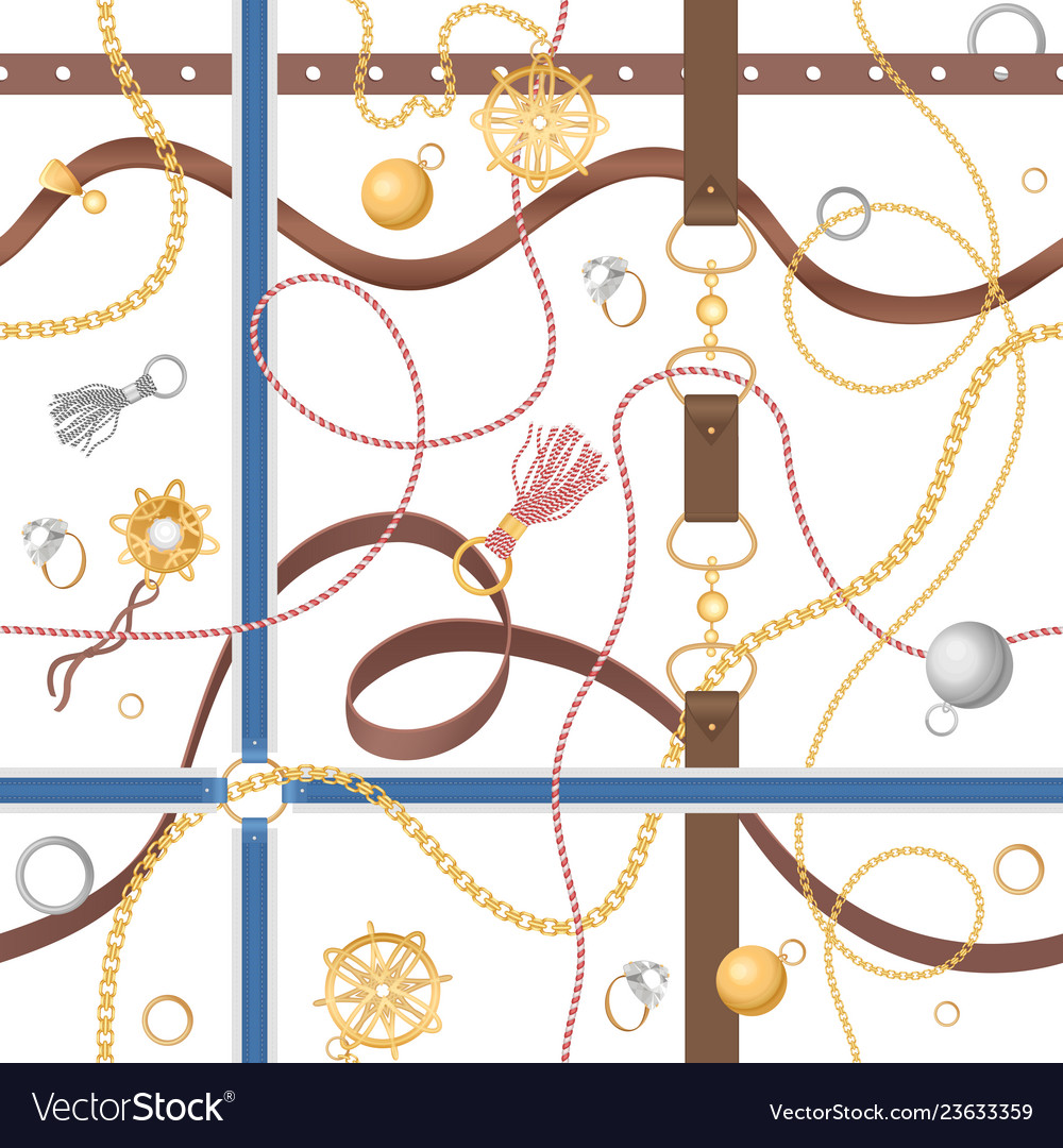 Seamless pattern with chains rings and jewelry