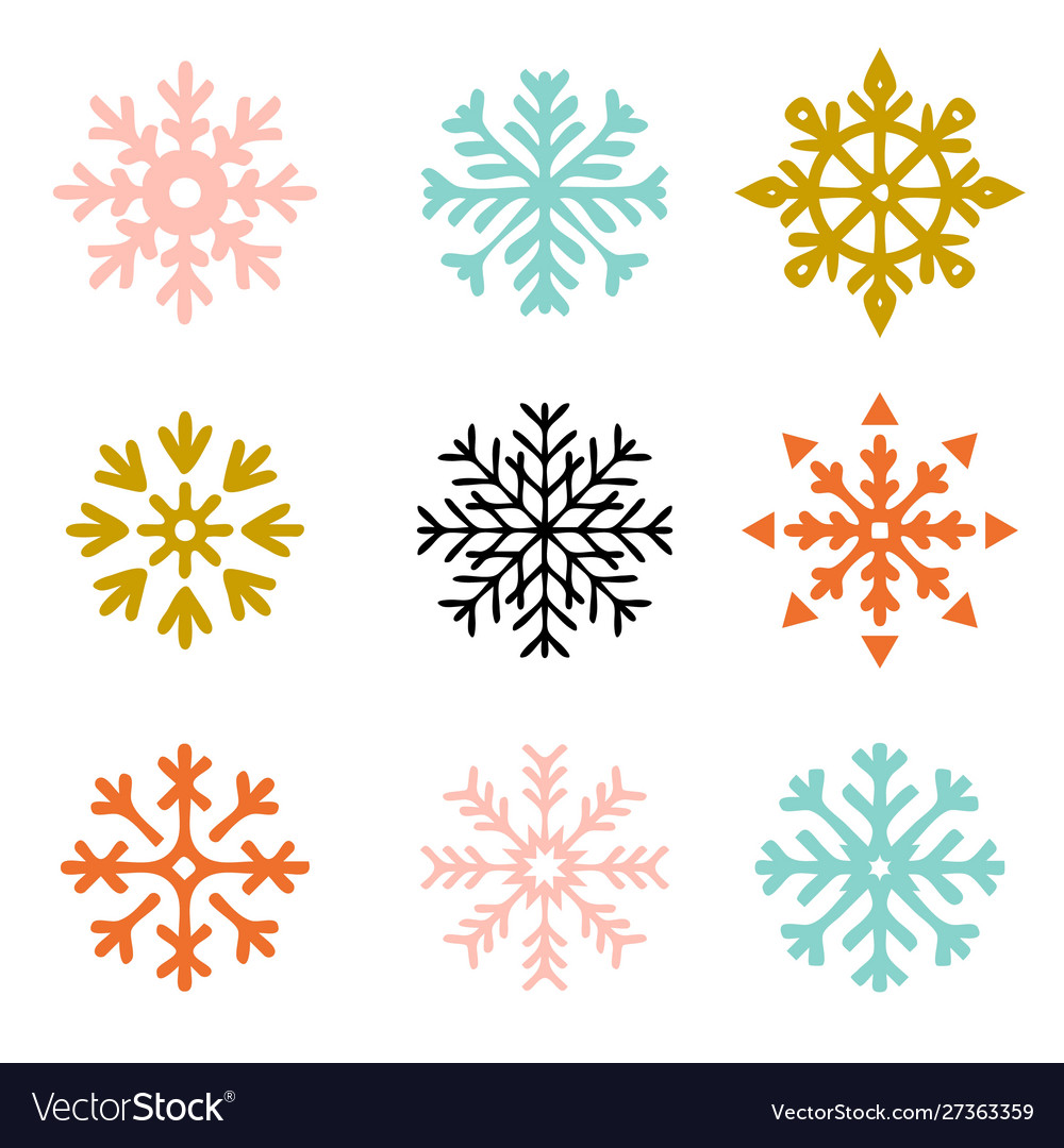 Set snowflakes new year and winter