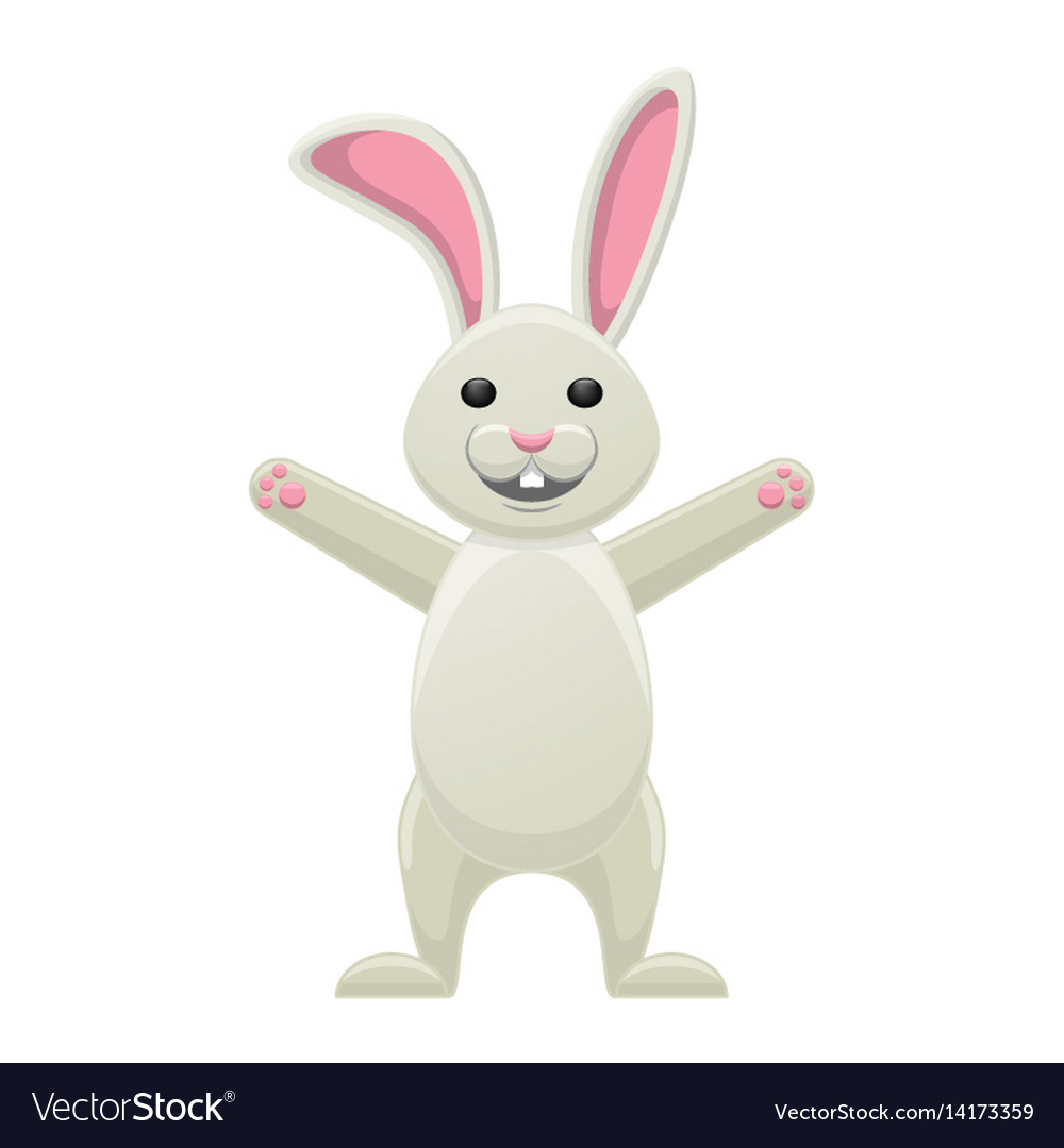 Smiling white bunny with stretched paws isolated