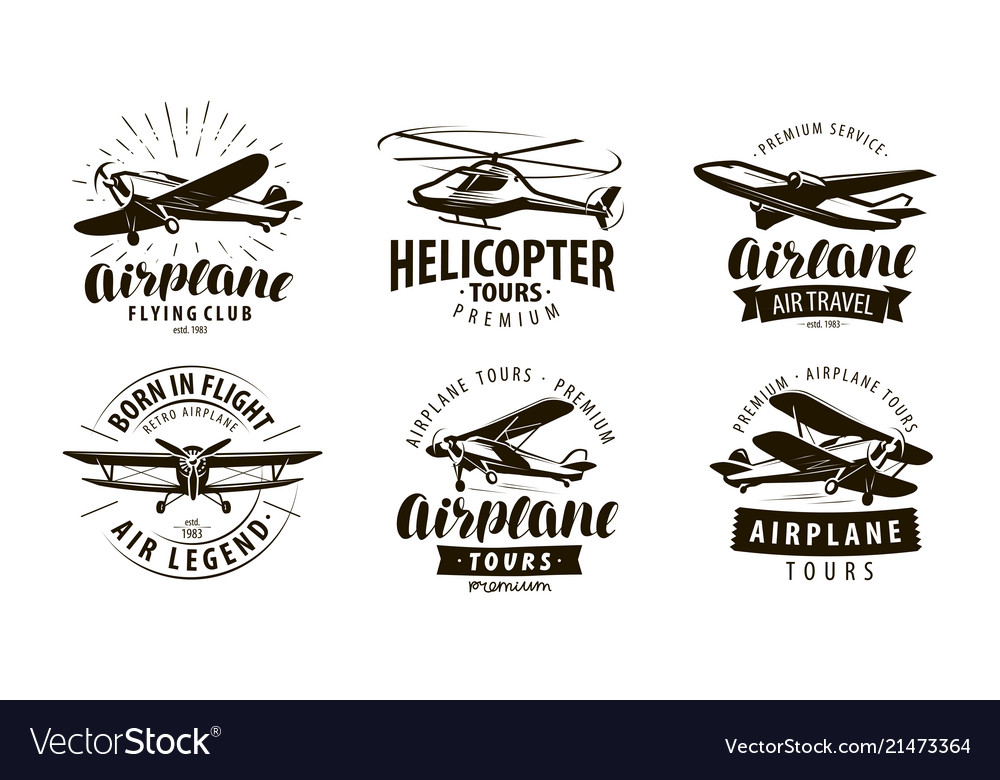 Aircraft airplane helicopter logo or icon