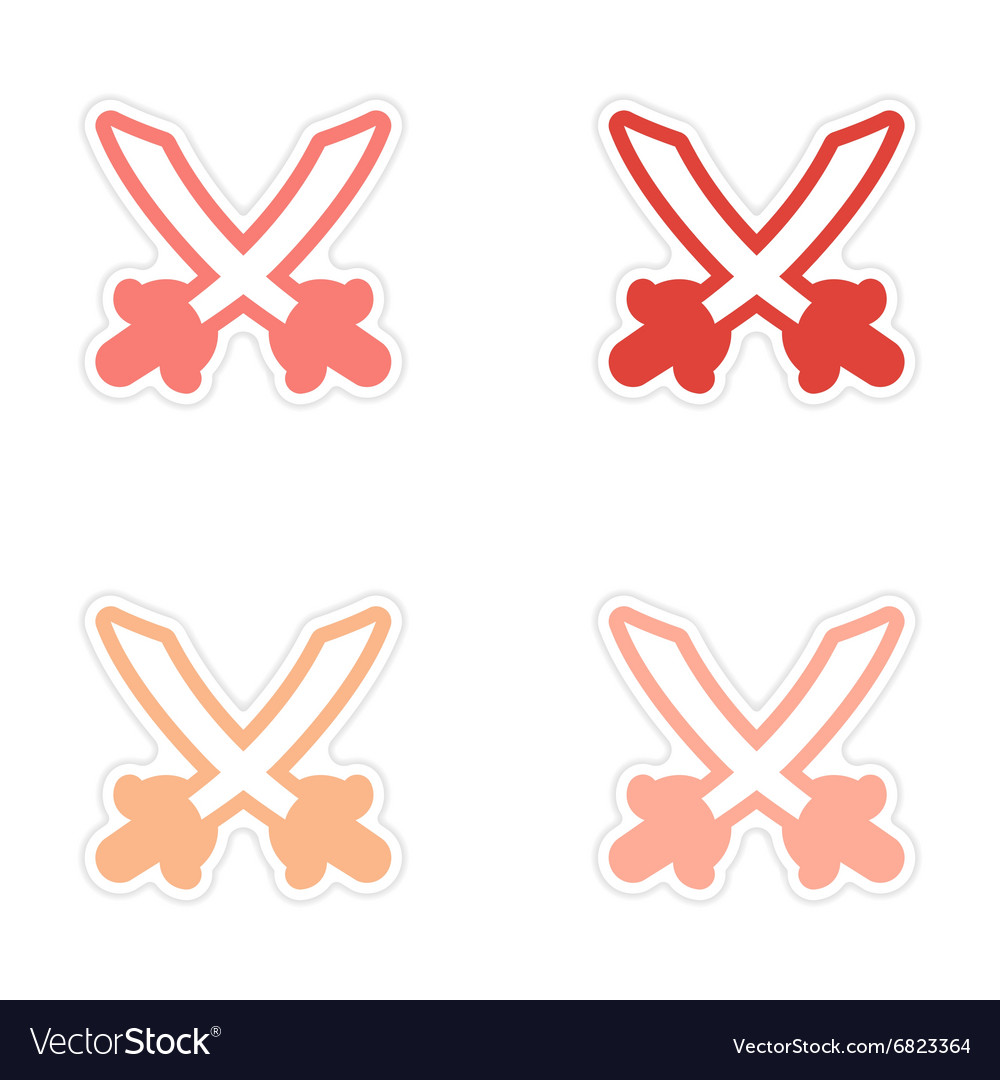 Assembly sticker Bright crossed swords on a white