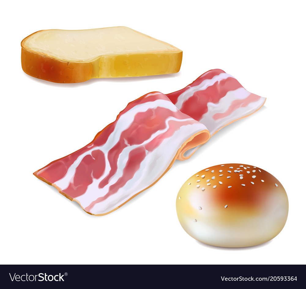 Bacon and bread realistic icon breakfast icons vector image