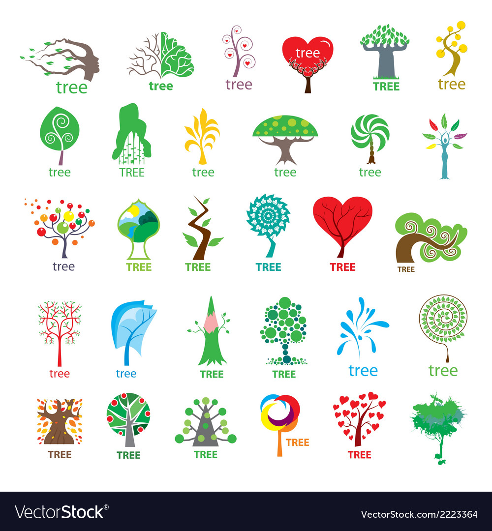 Biggest collection of logos stylized tree