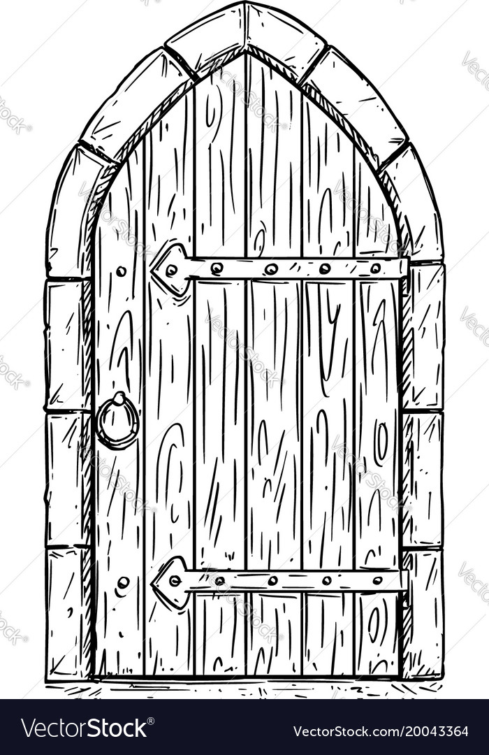 how to draw an open door