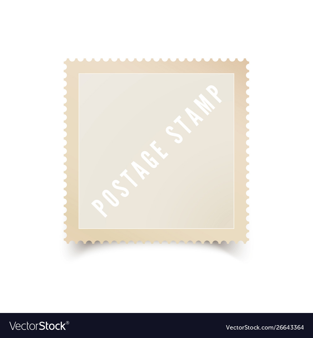 Empty postal stamp template with shadow blank
